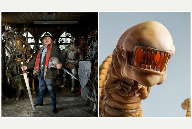 Armourer Terry English next to  one of his Alien models that will be on display at the Royal Cornwall Museum